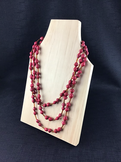 Red and brown bead necklace