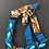 Thumbnail: Blue tones fabric and paperbead short necklace