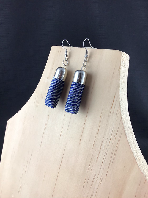 Blue stripe fabric tube earrings