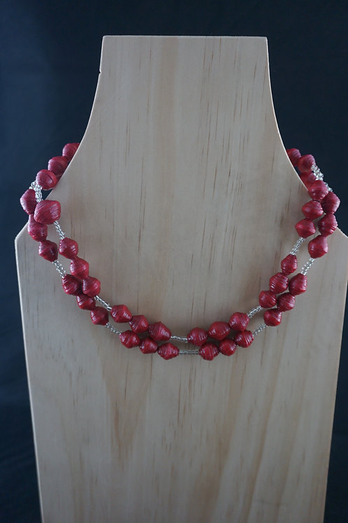 Red Beaded Necklace- Silver