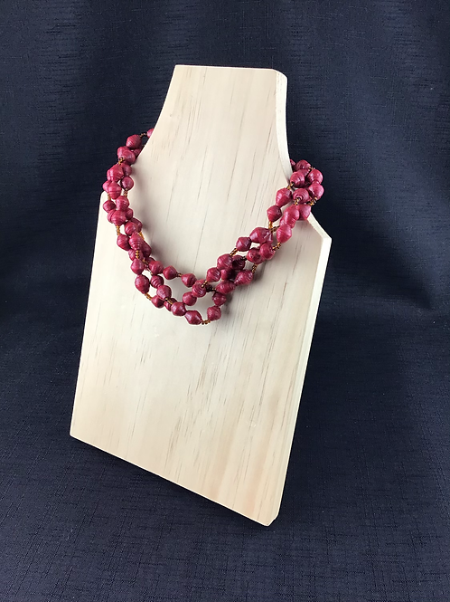 Maroon and brown bead necklace