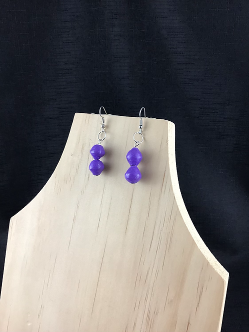 Purple bead earrings