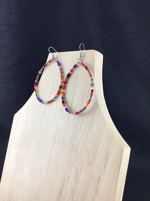 Multicoloured bead hoop earrings