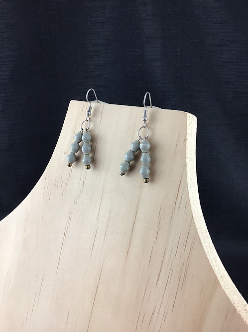Delicate grey paper bead earrings