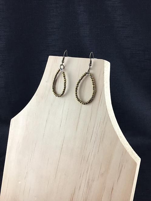 Bronze bead teardrop earrings