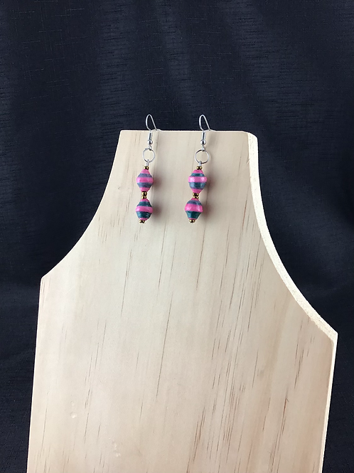 Pink and grey striped paper bead earrings