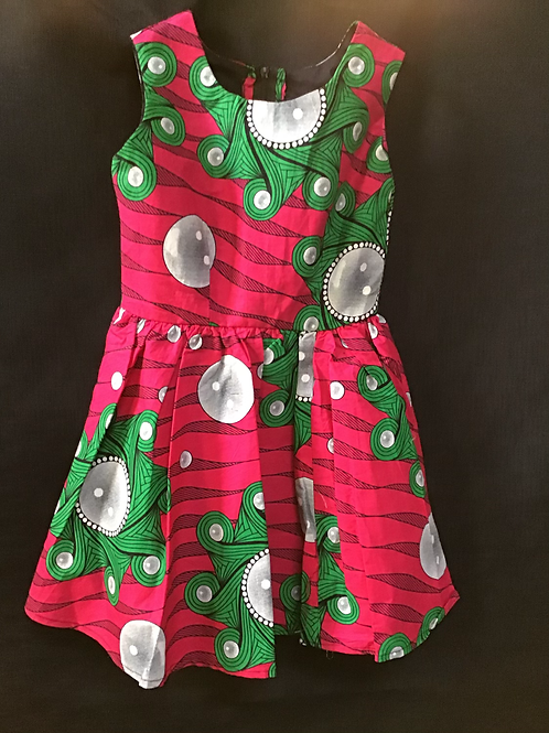 Young girls Pink and Green kitenge Dress