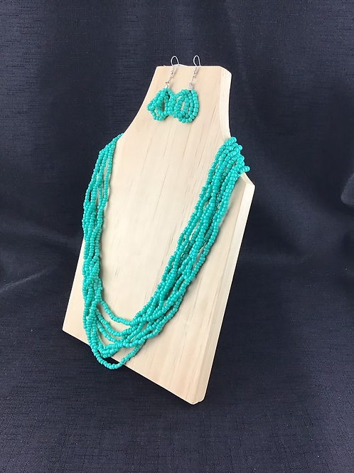 Aqua bead necklace and earring jewellery set