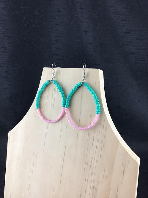 Aqua and pink bead hoop earrings