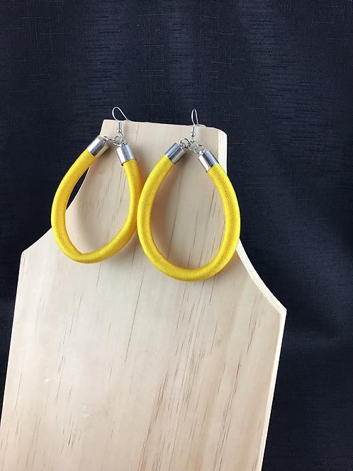 Yellow fabric tube teardrop earrings