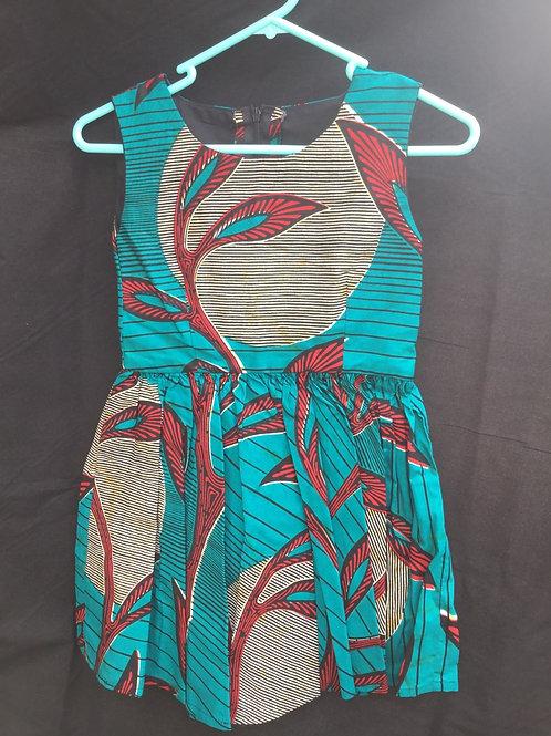 Girls Aqua and kitenge Dress