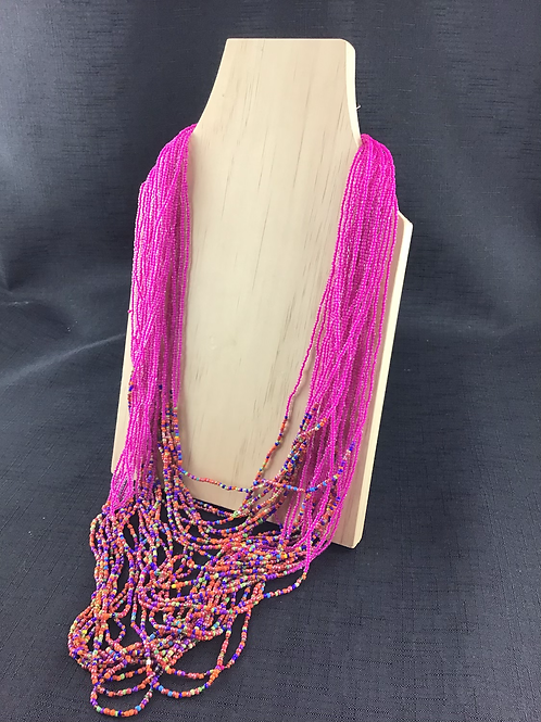Pink and multicoloured bead necklace
