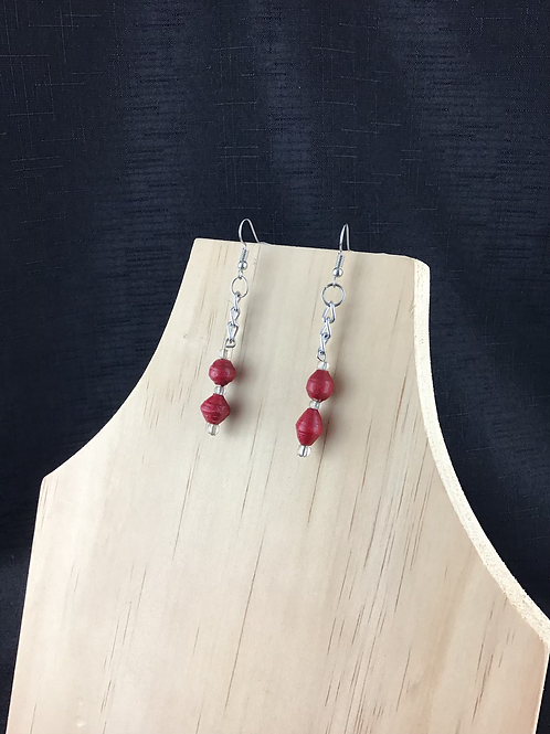 Red paper bead and chain earrings