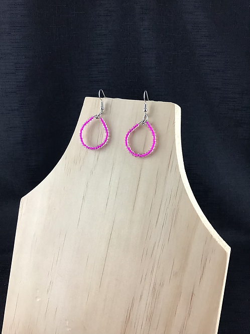 Pink bead teardrop earrings