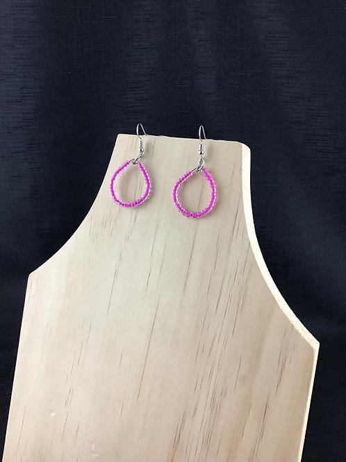 Pink bead teardrop earrings