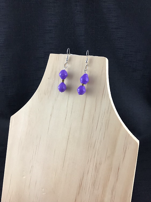 Purple and gold bead earrings
