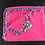 Thumbnail: Pink lion and giraffe baby blanket  with rainbow crocheted edge