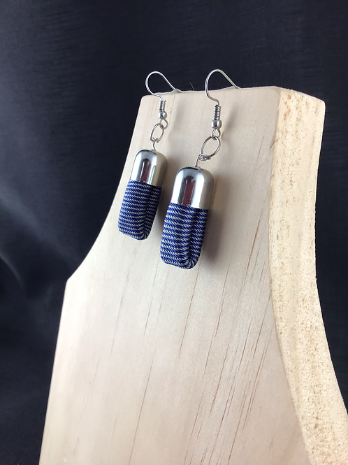 Fabric blue striped tube earrings