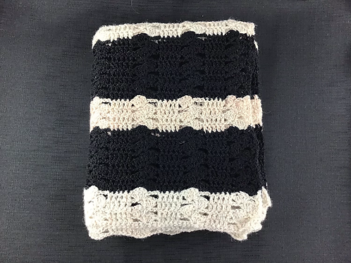 black and white striped crocheted blanket