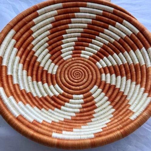 Iridescent ivory and burnt orange swirl basket