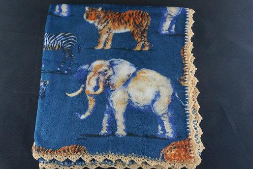 African Animal Soft Blanket- Tan edging