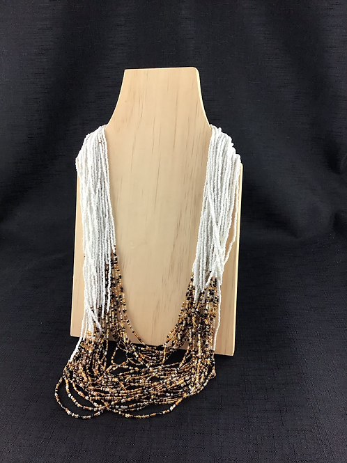 White and brown coloured bead necklace
