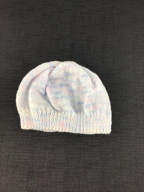 Pastel rainbow knitted bonnet