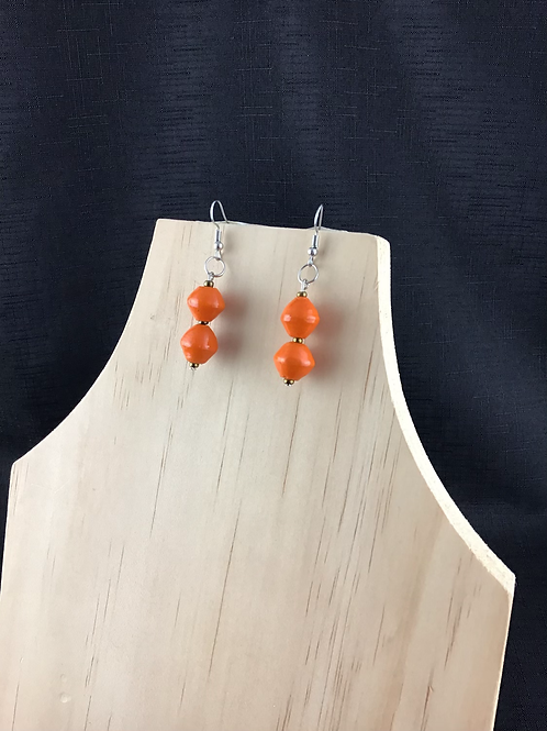 Orange pape bead earrings