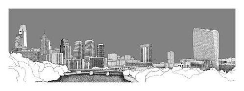 Pen-and-ink Illustration of Philadelphia skyline