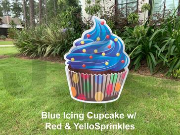 Blue Icing Cupcake w_ Red & Yellow sprin