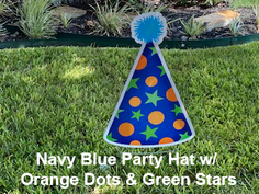 Navy Blue Party Hat with Orange Dots and