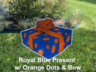 Royal Blue Present with Orange Dots and