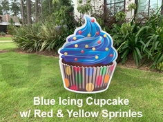 blue icing cupcake with red and yellow s