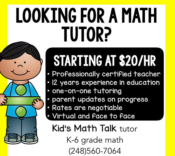Looking for a math tutor? Call 248-560-7064 today