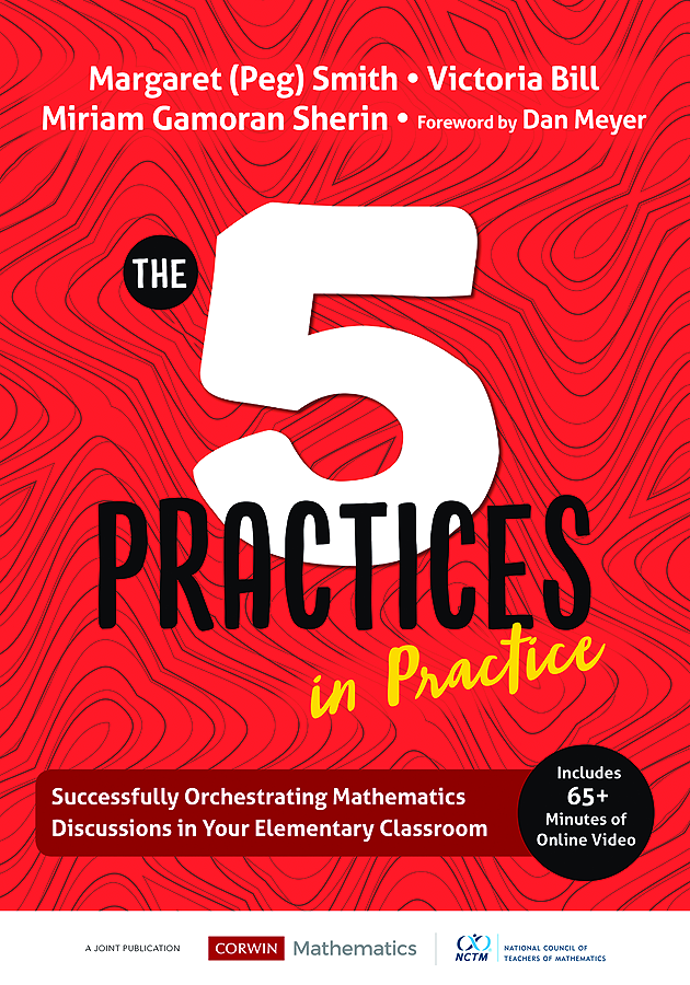 Image of The 5 Practices in Practice elementary book. Red cover with large 5 in the middle.