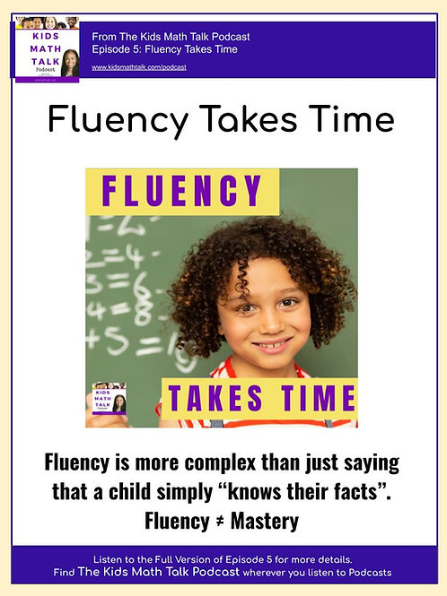 Kids Math Talk Basic Fact Fluency Plan and Diagrams