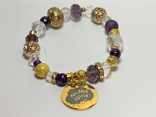 """""""Melanin Poppin"""" Charm Bracelet"""