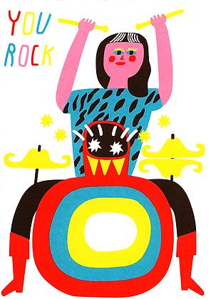 Drummer Rocks Greetings Card