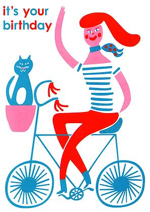 Bicycle Girl Greetings Card