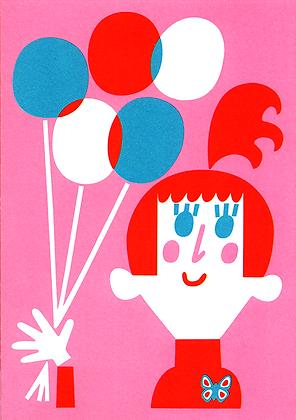 Balloon Girl Greetings Card