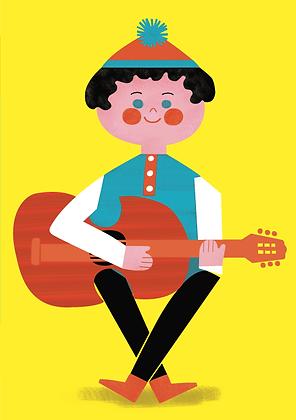 Simon + The Guitar Greetings Card