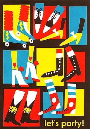 Disco Feet Greetings Card
