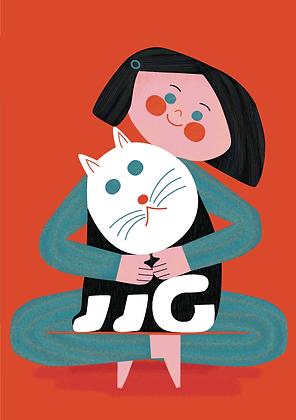 Edie + The Cat Greetings Card