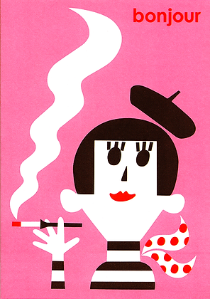 Beatnik Girl Greetings Card