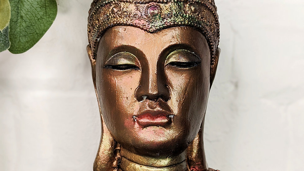 Buddha - Ornament - Bust - Hand Painted - Home Decor - Rustic - Vintage