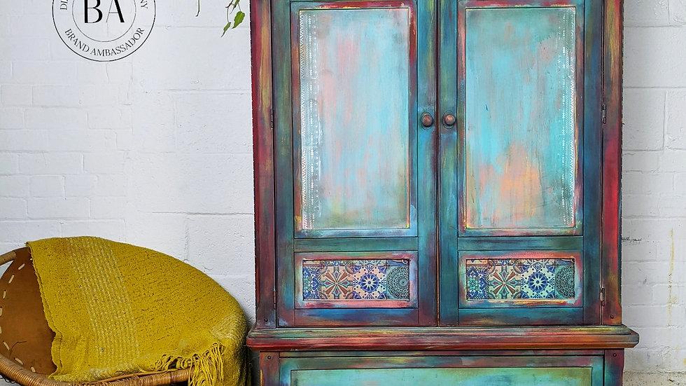Callista - Linen Cupboard - Hand Painted - Bohemian Decor - Linen Storage