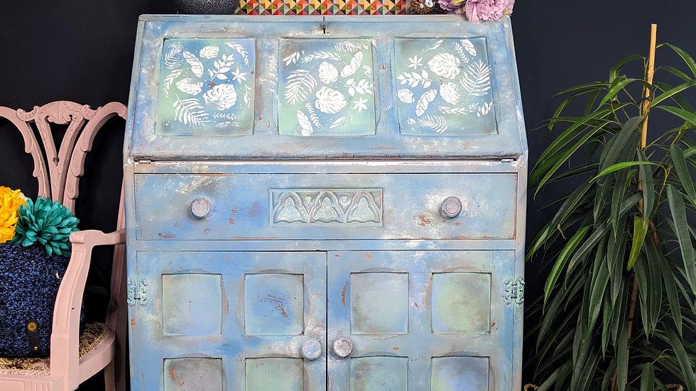 Writing Desk - Bureau - Vintage - Farmhouse - Hand Painted - Blue - Upcycled
