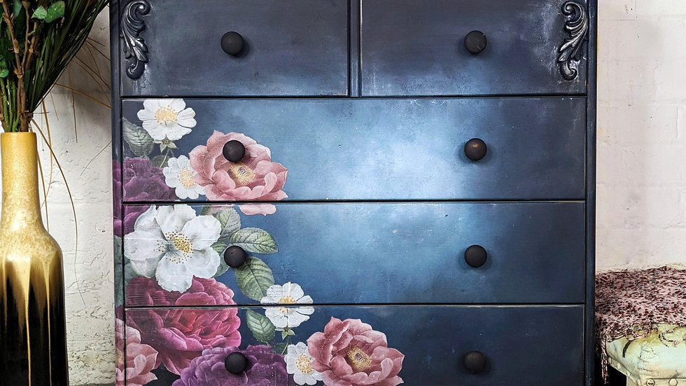 Moonlight Bloom - Drawers - Chest of Drawers - Hand Painted - Floral Decor