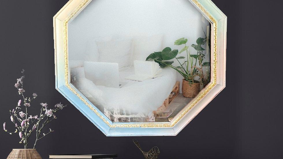 Wall Mirror - Hand Painted - Pastel - Vintage - Bohemian