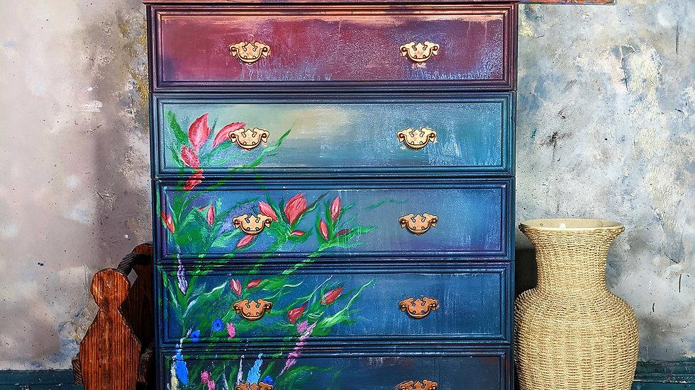 Setting Sun Drawers - Vanity - Hand Painted - Bohemian - Living Room - Bedroom